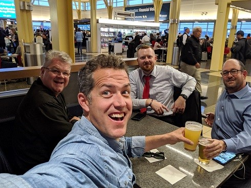 John Shimek, Hearth & Home Technologies; Tim Portz, Pellet Fuels Institute; Kenny Lisle, Energex; and Billy Hoskins, Easy Heat, enjoy refreshments at Reagan National Airport after a very productive fly-in in late October.
