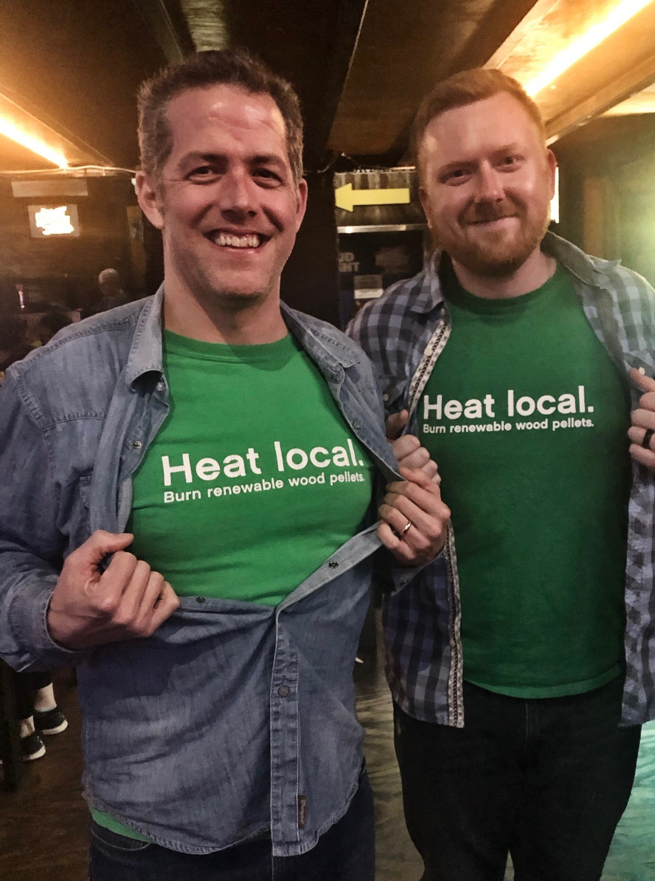 Photo Caption: Tim Portz and Kenny Lisle, PFI board vice-chairman (Lignetics), spread the wood heat word downtown Nashville, following the International Biomass Conference & Expo.